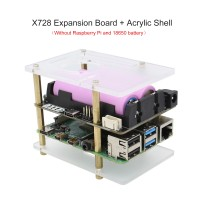 X728 Expansion Board UPS Power Management Board Automatic Startup w/ Acrylic Shell for Raspberry Pi