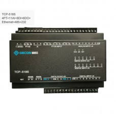 4PT100 + 11AI + 8DI + 6DO Industrial Controller Ethernet IO Module TCP-518S Ethernet + RS485 + RS232