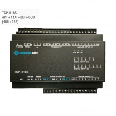 4PT100 + 11AI + 8DI + 6DO Industrial Controller Ethernet IO Module TCP-518S RS485 + RS232
