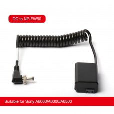 ZITAY DC To NP-FW50 Dummy Battery External Power Cable Power Cord For Sony A6000/A6300/A6500