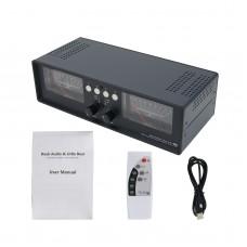 VU2-D LED Version MIC+LINE Dual VU Meter Audio Splitter Box 4-Way Switcher Sound Level Indicator