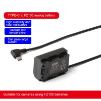 ZITAY For Type C USB To Sony NP-FZ100 Dummy Battery Power Cord A73/A7R3/A7M3 For Camera Using FZ100