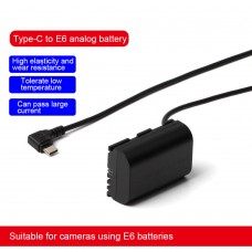 ZITAY For Type-C To Canon LP-E6 Dummy Battery Power Cable Cord Suitable For 5D2/5D4/70D/80D/7D