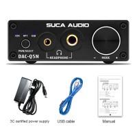 DAC-Q5N HiFi Lossless Headphone Amplifier DAC Optical Coaxial USB Sound Card w/ Power Supply Black