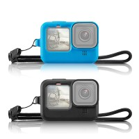 PU518 Camera Silicone Protective Case Cover With Wrist Strap & Lens Cover For GoPro HERO 9 Black