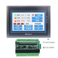 For Samkoon EA-043A 4.3-Inch HMI Touch Screen 480*272 + FX3U-48MR PLC Industrial Controller Board