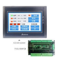 For Samkoon EA-043A 4.3-Inch HMI Touch Screen 480*272 + FX3U-56MR PLC Industrial Controller Board