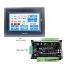 "For Samkoon EA-070B 7"" HMI Touch Screen 800*480 + FX3U-32MT PLC Controller Board 8-Way 100K Pulse"