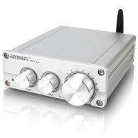 PA-04 200W 2.1 Channel Amplifier Bluetooth Mini Stereo HiFi Amp Assembled Silver + Power Adapter