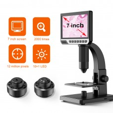 "Inskam315 2000X 12MP Digital Microscope Magnifier 7"" IPS Screen Two Lens For PCB Repair Jewelry"