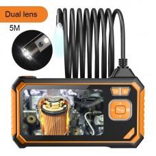 "Inskam113-2 8mm 5M Industrial Endoscope Camera 1080P Borescope Dual Waterproof Lens 4.3"" Color LCD"