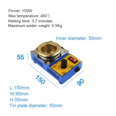 PH-21C 150W Lead-Free Soldering Pot Solder Pot Maximum Temperature 480℃/896℉ Inner Diameter 50mm/2""