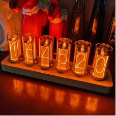 6-Digit LED Glow Tube Alarm Solid Wood Nixie Tube Alarm Clock Assembled Gift Sweet Home Decor