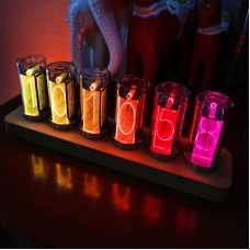 6-Digit Color Nixie Tube Alarm Clock Solid Wood RGB Glow Tube Clock LED Digital Gift Desktop Decor