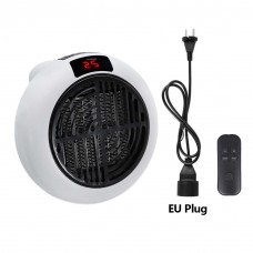 900W Mini Air Heater Small Room Heater Winter Warmer Fan w/ Remote Controller Long Cable Stand White