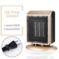 YND-900 Mini Space Heater 900W Electric Heater Fan Office Bathroom PTC Ceramic Heater US Plug Golden