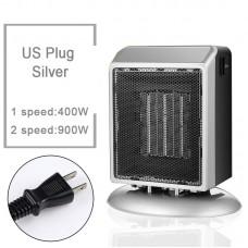 YND-900 Mini Space Heater 900W Electric Heater Fan Office Bathroom PTC Ceramic Heater US Plug Silver