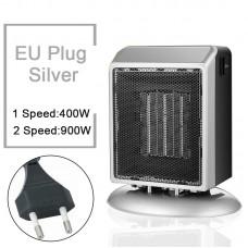 YND-900 Mini Space Heater 900W Electric Heater Fan Office Bathroom PTC Ceramic Heater EU Plug Silver
