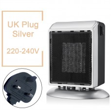 YND-900 Mini Space Heater 900W Electric Heater Fan Office Bathroom PTC Ceramic Heater UK Plug Silver