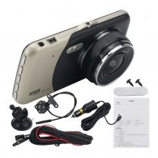 "4"" Dual Lens Camera HD 1080P Car DVR Vehicle Video Dash Cam Recorder w/ 4"" LCD Screen Golden"