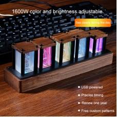 RGB Clock LED Pseudo Glow Tube Clock Black Walnut Wood DIY Kit Wonderful Birthday Present For Friend
