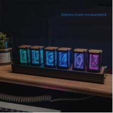 6-Digit RGB Clock Pseudo Glow Tube Clock DIY Kit Unassembled Desktop Creative Decoration Gift