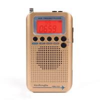 HRD-737 Air Band Radio Receiver Full Band Radio Alarm Clock VHF Multiband Radio LCD Backlight Golden