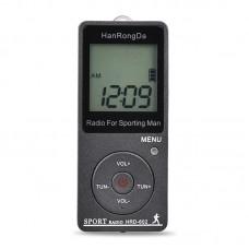 HRD-602 Sport Radio AM FM Radio Mini Radio Pocket Pedometer Function Conference Receiver Gray