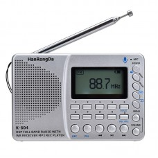K-604 DSP Full Band Radio Recorder Multifunctional Mini Radio WB Receiver MP3 Player Support TF Card
