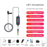 1.5M/4.9FT LM1 Collar Mic Collar Microphone w/ Conversion Cable For Android Noise Reduction
