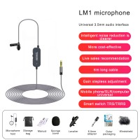 6M/19.7FT LM1 Collar Mic Collar Microphone Noise Reduction Earphone Monitor For Phone SLR Camera