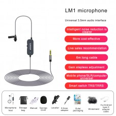 6M/19.7FT LM1 Collar Mic Collar Microphone w/ Conversion Cable For Android Noise Reduction