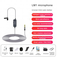 6M/19.7FT LM1 Collar Mic Collar Microphone w/ Conversion Cable For iPhone Noise Reduction