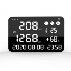 "DM1307 Wall Mount Carbon Dioxide Detector PM2.5 PM10 PM1.0 Temperature Humidity Monitor 17"" Display"