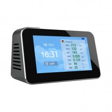 DM601B Air Quality Monitor PM2.5 CO2 PM1.0 PM10 HCHO TVOC Temperature Humidity AQI With Alarm Clock