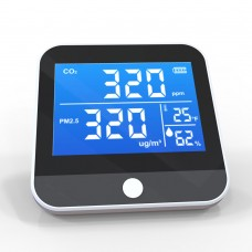 DM306D Indoor Air Quality Monitor CO2 PM2.5 PM1.0 PM10 Temperature Humidity Detector w/ CO2 Alarm