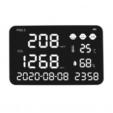 """DM1307 Wall Mount Carbon Dioxide Detector PM2.5 PM10 PM1.0 Temperature Humidity Monitor 17"""" Display"""