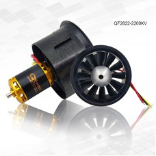 QF2822-2200KV 64MM Ducted Fan Motor 12-Blade EDF Motor 6S Duct For FMS Ducted Airplane RC Drone