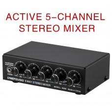 B055 5-Way Stereo Mixer Audio Mixer With Independent Volume Adjustment Headphone Monitoring
