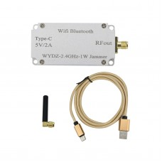 WYDZ-2.4GHz-1W WiFi Bluetooth Blocker 2.4GHZ 1W With Antenna Type-C Cable Aluminum Alloy Shell