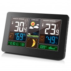 FanJu FJ3378 Wireless Weather Station Clock Color Screen For Indoor & Outdoor Temperature Humidity