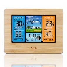 FanJu FJ3373 Weather Station Clock RF Wireless Weather Clock Color Screen Perpetual Calender Grain