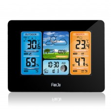 FanJu FJ3373 Weather Station Clock RF Wireless Weather Clock Color Screen Perpetual Calender Black
