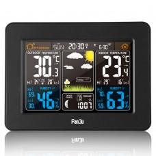 FanJu FJ3365 Weather Station Radio Wave Clock RF Wireless Weather Clock Perpetual Calendar Black
