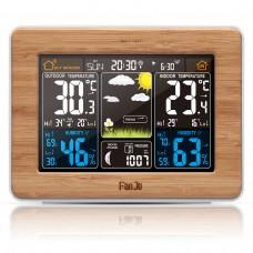 FanJu FJ3365 Weather Station Radio Wave Clock RF Weather Clock Perpetual Calendar Bamboo Surface