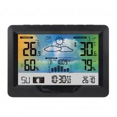 FanJu 3383F Wireless Weather Station Weather Clock Alarm Clock Display Temperature Humidity Date