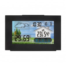 FanJu 3551A Touch Screen Weather Clock Alarm Clock Indoor Outdoor Thermometer Hygrometer Black
