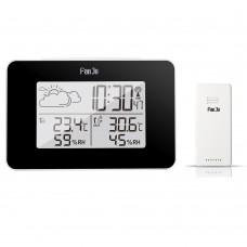 FanJu FJ3364 Weather Clock Electronic Alarm Clock For Indoor Outdoor Temperature Humidity Black