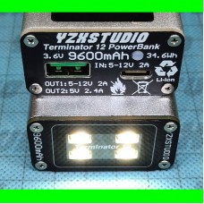 T12ZR YZXSTUDIO Terminator 12 Power Bank 9600Mah Color Screen 2-Way Quick Charge With 2W Lights