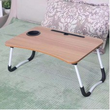 Portable Folding Computer Desk Folding Laptop Table Designed With Anti-Slip Slot Cup Holder For Bed